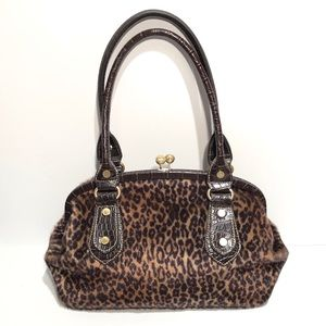 Franco Sarto Leopard Purse Bag Frame Faux